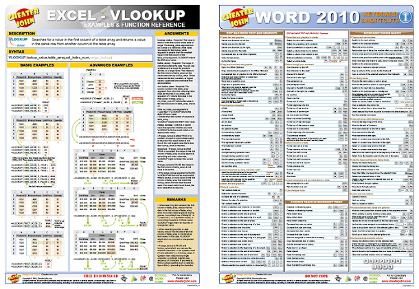 cheat sheets  training materials  infographics  reference
