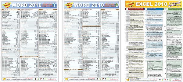 Excel 2010 Word 2010 Keyboard Shortcuts Bundle