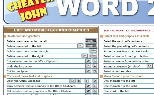 Word Keyboard Shortcuts Cheat Sheet