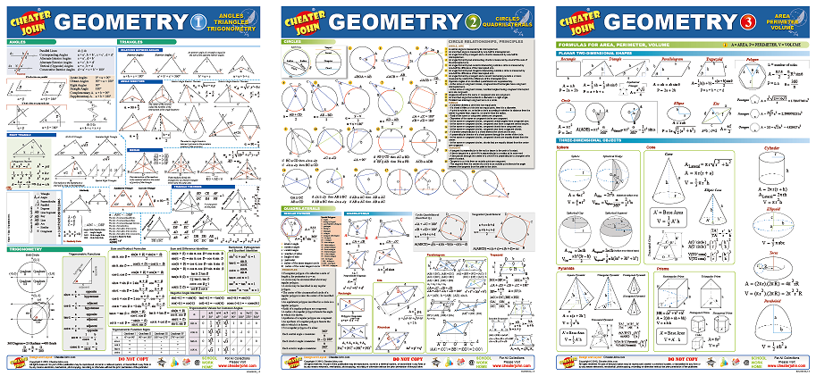 Geometry Formulas and Equations 1-2-3 All in One